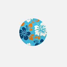 Light blue-navy-orange-white Hawaiian Mini Button
