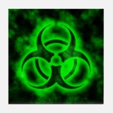 Green Biohazard Symbol Tile Coaster