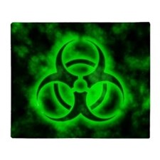 Green Biohazard Symbol Throw Blanket