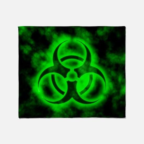 Green Biohazard Symbol Throw Blanket