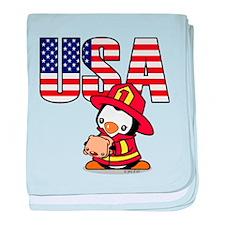 USA Firefighter Penguin baby blanket