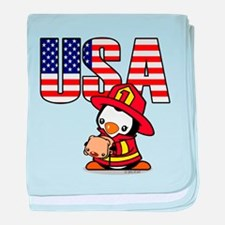 USA Firefighter Penguin baby blanket