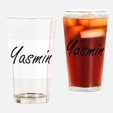 Yasmin artistic Name Design Drinking Glass