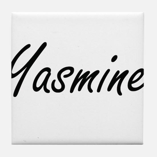Yasmine artistic Name Design Tile Coaster