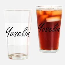 Yoselin artistic Name Design Drinking Glass