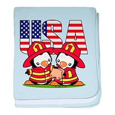 USA Firefighter Penguins baby blanket