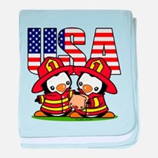 USA Firefighter Penguins baby blanket
