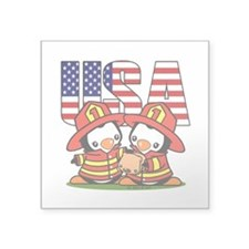 "USA Firefighter Penguins Square Sticker 3"" x 3"""