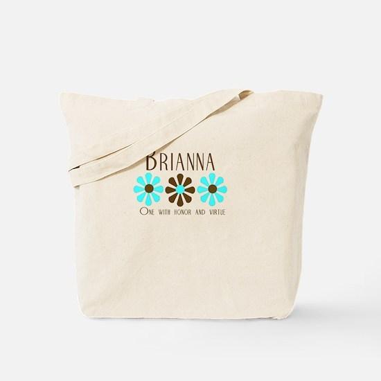 Brianna - Blue/Brown Flowers Tote Bag