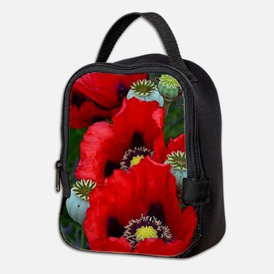 Red poppy flowers Neoprene Lunch Bag