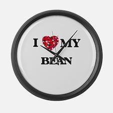 I Love MY Bean Large Wall Clock