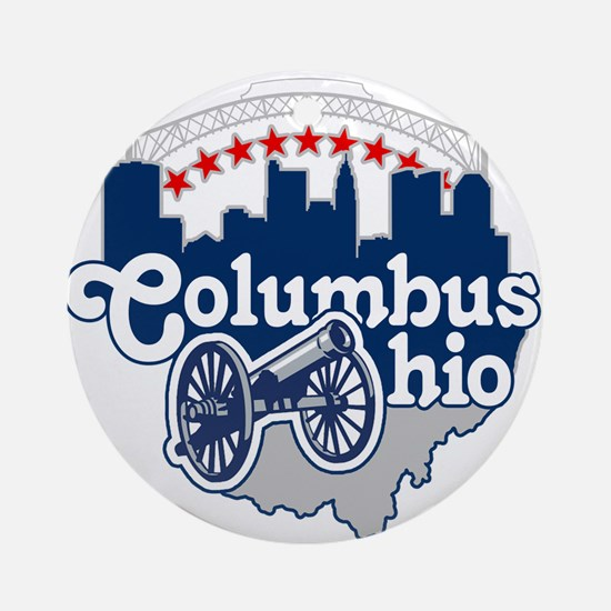 Columbus Ohio Skyline Cannon Ornament (Round)