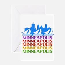 Minneapolis Skyline Rainbow Colors Greeting Cards