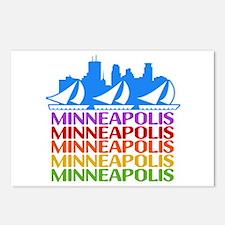 Minneapolis Skyline Rainbow Colors Postcards (Pack