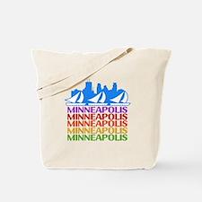Minneapolis Skyline Rainbow Colors Tote Bag