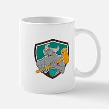 Minotaur Wielding Sledgehammer Shield Cartoon Mugs