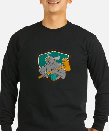 Minotaur Wielding Sledgehammer Shield Cartoon T