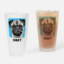 Obey Pug Drinking Glass