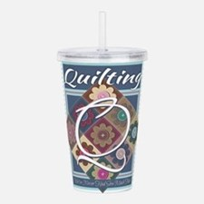 Cute Quilting mom Acrylic Double-wall Tumbler