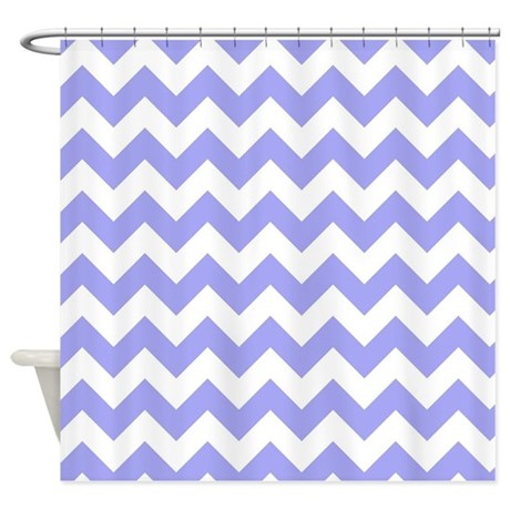 Blue and White Herringbone Shower Curtain