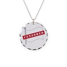Censored Flag Necklace Circle Charm