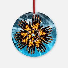 Fire & Ice Blazing Hand Starburst Ornament (Round)