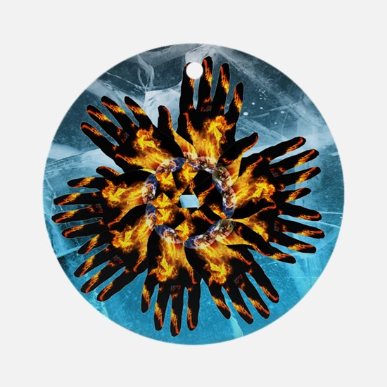 Fire & Ice Blazing Hand Starburst Ornament (Round)