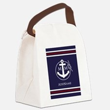 Navy Blue Nautical Rope and Anchor Monogrammed Can
