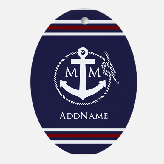 Navy Blue Nautical Rope and Anchor Monogrammed Orn