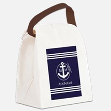 Navy Blue and White Anchor Monogr Canvas Lunch Bag