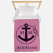 Pink Nautical Rope and Anchor Monogramm Twin Duvet