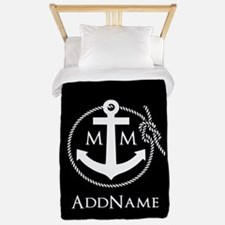 Black and Red Rope and Anchor Monogramm Twin Duvet