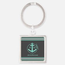 Dark Grey and Mint Anchor Monogram Square Keychain