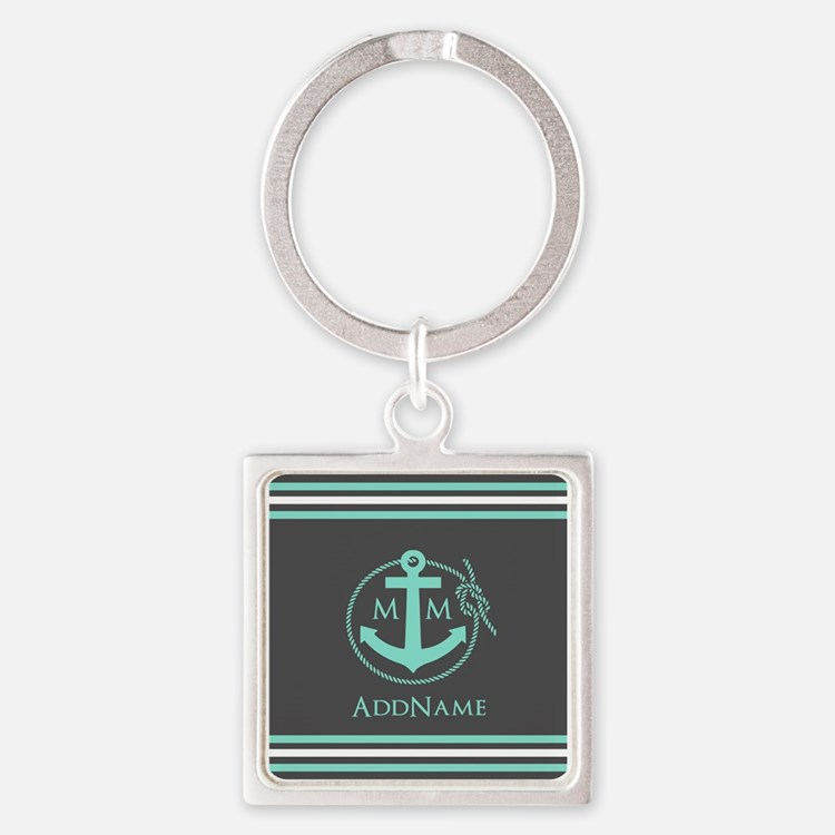 Dark Grey and Mint Anchor Monogram Square Keychain
