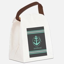 Dark Grey and Mint Anchor Monogra Canvas Lunch Bag