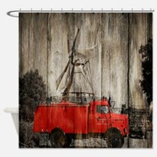 farm landscape vintage fire truck Shower Curtain