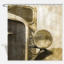 rusty vintage farm truck Shower Curtain