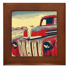 cool retro old truck  Framed Tile