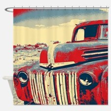 cool retro old truck  Shower Curtain
