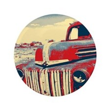 cool retro old truck  Button