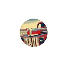 cool retro old truck  Mini Button