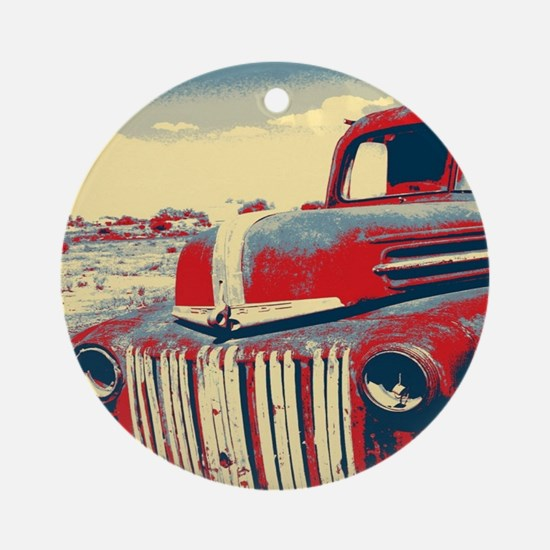 cool retro old truck  Round Ornament