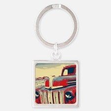 cool retro old truck  Square Keychain