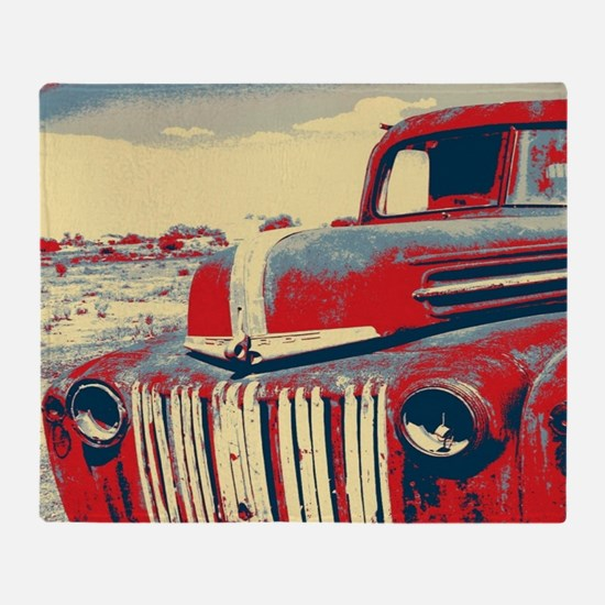 cool retro old truck  Throw Blanket