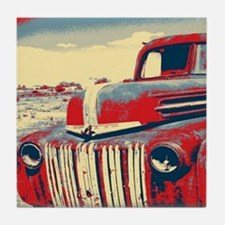 cool retro old truck  Tile Coaster