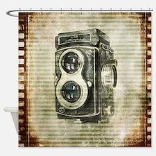 photographer retro camera Shower Curtain
