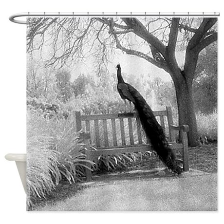 Bench Peacock Shower Curtain