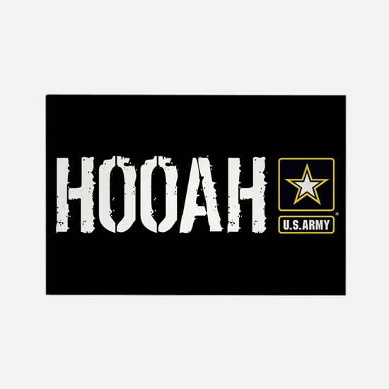 U.S. Army: Hooah (Black Rectangle Magnet (10 pack)