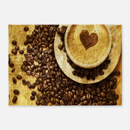 romantic modern coffee 5'x7'Area Rug