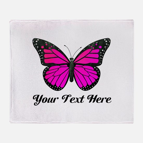 Pink Butterfly Custom Text Throw Blanket